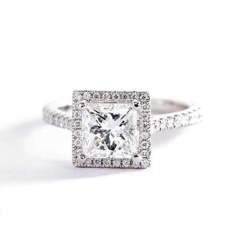 1 Cts SI2 F Princess Cut French Pave Halo Diamond Engagement Ring 18K White Gold