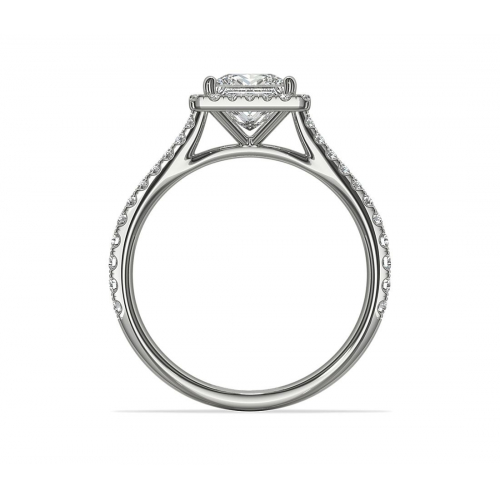 1.40 Cts VS2 H Princess Cut French Pave Halo Diamond Engagement Ring 18K White Gold