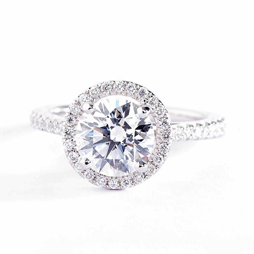 GIA Certified 1 Cts SI2 D Round Halo Diamond Engagement Ring 18K White Gold