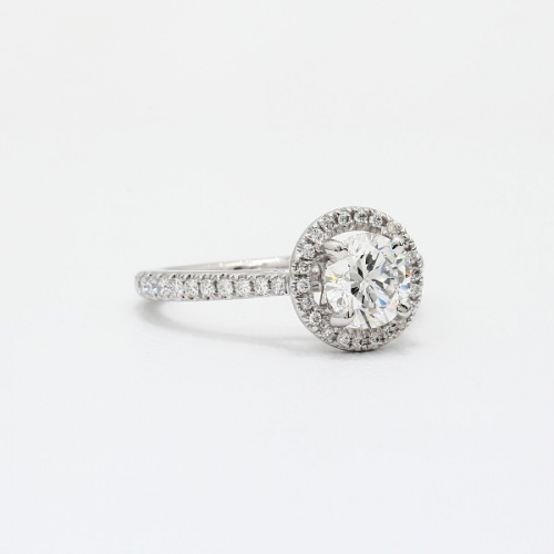 GIA Certified 1.40 Cts SI2 D Round Halo Diamond Engagement Ring 18K White Gold