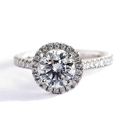 0.90 Cts SI2 F Round Cut French Pave Halo Diamond Engagement Ring 18K White Gold