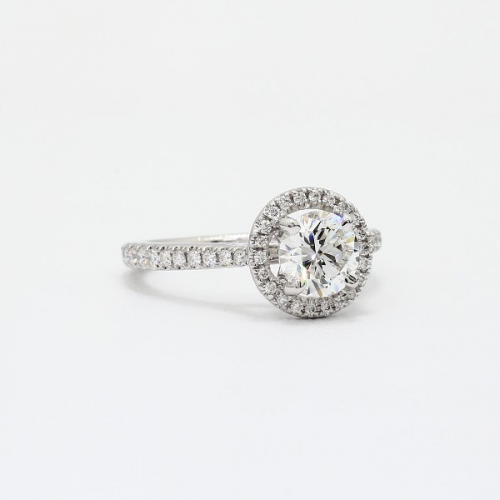 1.30 Cts SI2 F Round Cut French Pave Halo Diamond Engagement Ring 18K White Gold