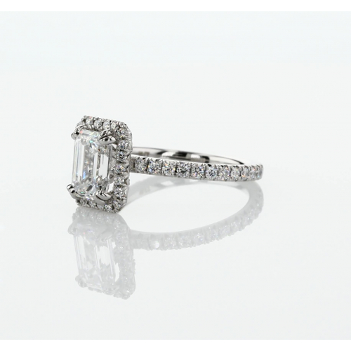 GIA Certified 1.50 Cts SI1 F Emerald Halo Diamond Engagement Ring 18K White Gold