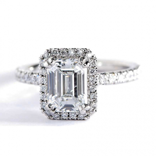 1 Ct SI2 F Emerald Cut Double Prongs Halo Diamond Engagement Ring 18K White Gold