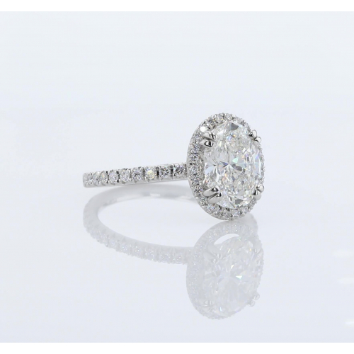 1.60 Cts SI2 D Oval Cut Double Prongs Halo Diamond Engagement Ring Platinum