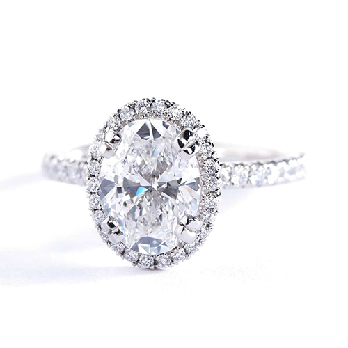 1 Cts SI2 D Oval Cut Double Prongs Halo Diamond Engagement Ring 18K White Gold