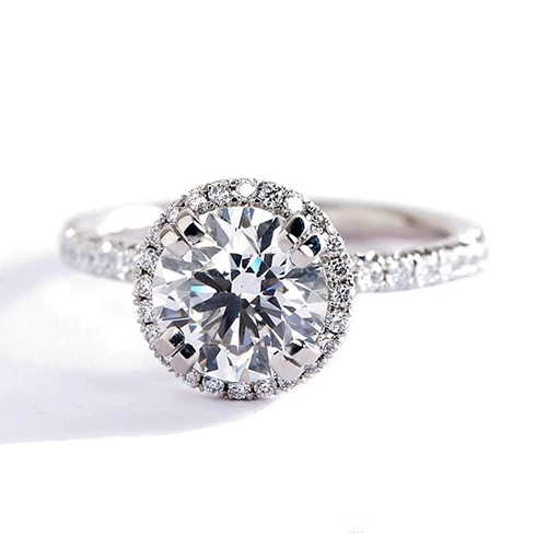 GIA Certified 0.50 Cts SI2 F Round Cut Halo Diamond Engagement Ring Platinum