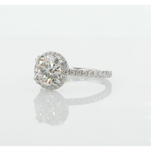 GIA Certified 1.50 Cts SI2 F Round Cut Halo Diamond Engagement Ring Platinum