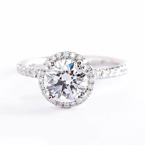 .90 Ct SI2 D Round Cut Double Prongs Halo Diamond Engagement Ring 18K White Gold