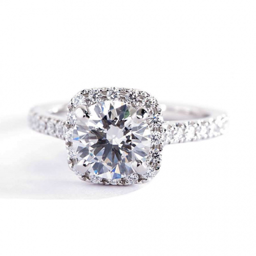 1 Cts SI2 D Round Cut Cushion Style Halo Diamond Engagement Ring Platinum