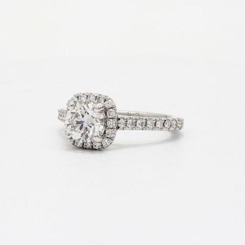1.40 Cts SI2 D Round Cut Cushion Style Halo Diamond Engagement Ring Platinum
