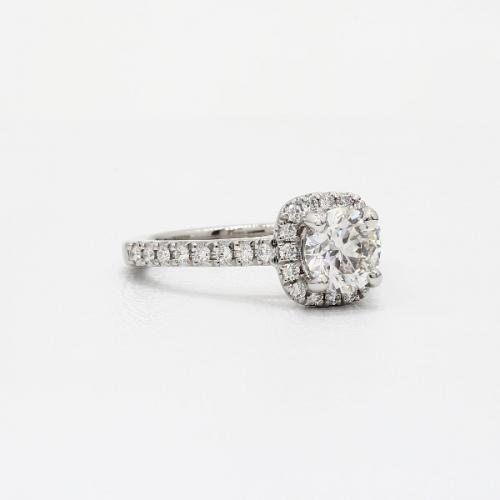 1.40 Cts SI2 D Round Cut Cushion Style Halo Diamond Engagement Ring Platinum