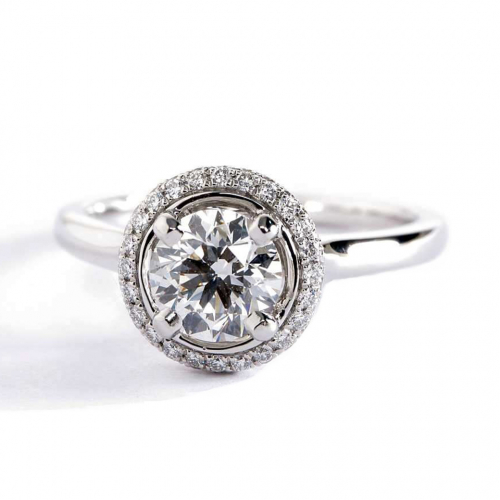 0.70 Cts SI2 F Round Cut Collar Halo Diamond Engagement Ring 18K White Gold