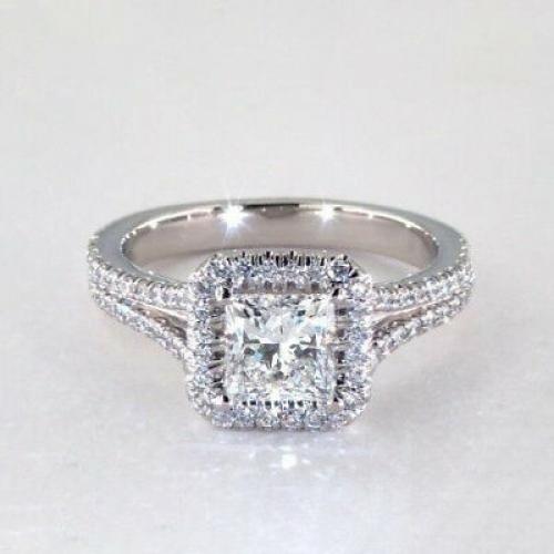.90 Ct VS2 F Princess Split Shank Halo Diamond Engagement Ring 18K White Gold
