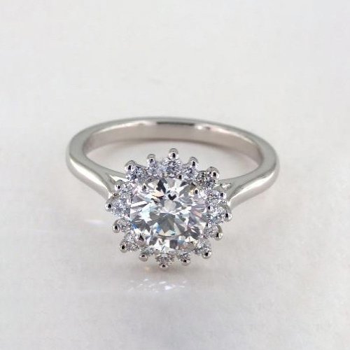 0.90 Cts SI2 F Round Cut Floral Halo Diamond Engagement Ring 18K White Gold