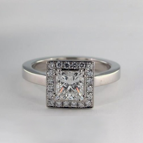 0.90 Cts SI2 F Princess Cut Vintage Halo Diamond Engagement Ring 18K White Gold