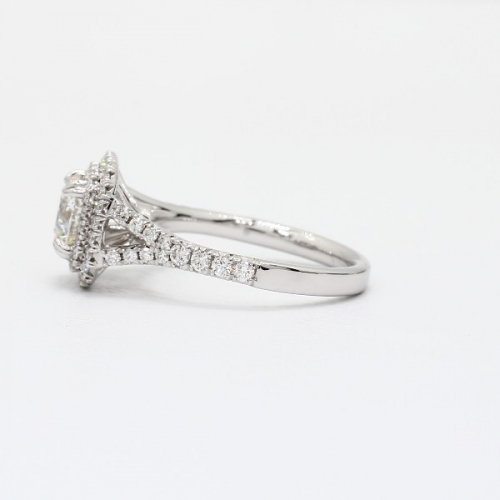 GIA Certified 1.30 Cts SI2 F Double Halo Diamond Engagement Ring 18K White Gold