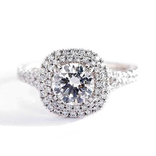 GIA 1.5 Ct SI2 F Round Cut Double Halo Diamond Engagement Ring 18K White Gold