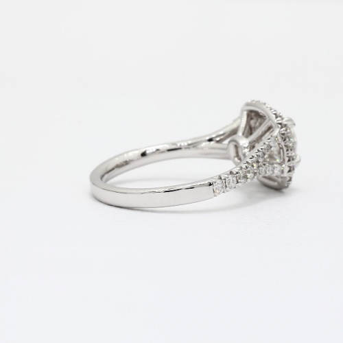 1.50 Ct SI2 F Round Split Shank Double Halo Diamond Engagement Ring 18K White Gold