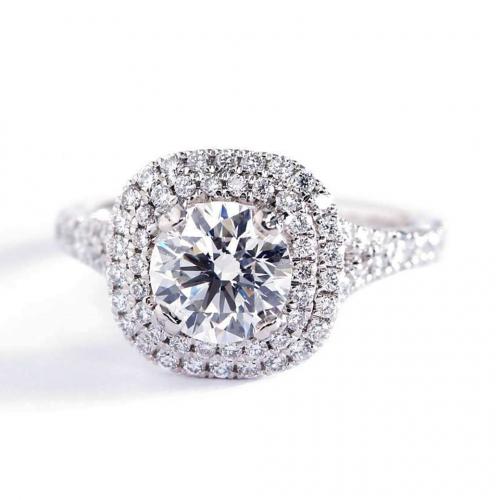 1 Ct SI2 D Round Split Shank Double Halo Diamond Engagement Ring 18K White Gold