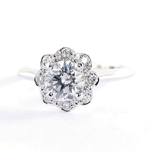GIA Certified 0.90 Cts SI2 F Round Halo Diamond Engagement Ring 18K White Gold