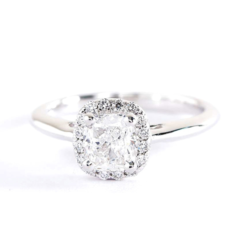 0.50 Cts SI2 H Cushion Cut Classic Halo Diamond Engagement Ring Platinum