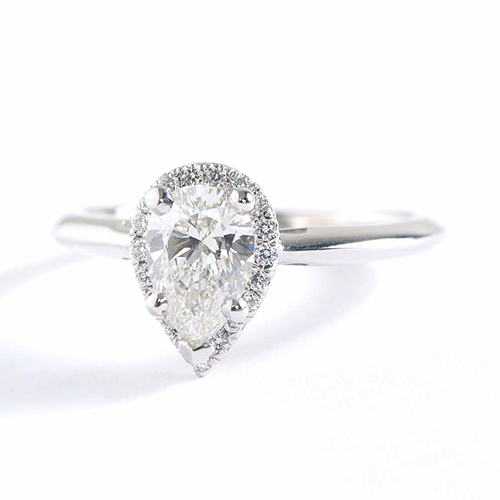 0.70 Cts SI2 F Pear Cut Classic Halo Diamond Engagement Ring Platinum