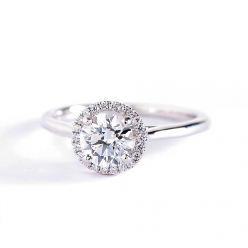 0.50 Cts SI2 D Round Cut Classic Halo Diamond Engagement Ring 18K White Gold