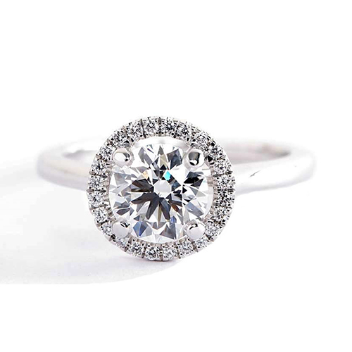 0.90 Cts SI2 D Round Cut Classic Halo Diamond Engagement Ring 18K White Gold