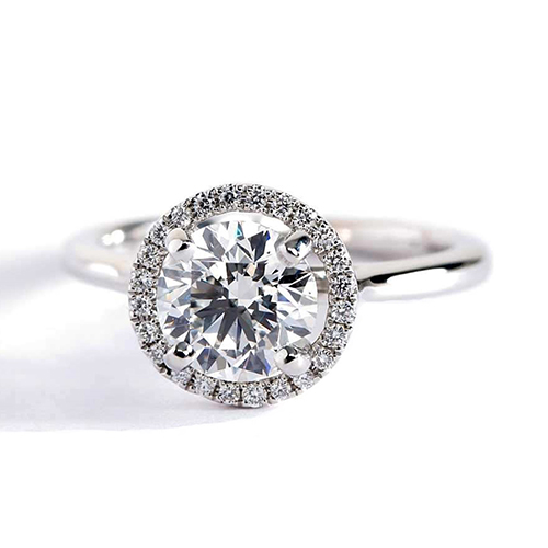 0.90 Cts SI2 F Round Cut Classic Halo Diamond Engagement Ring 18K White Gold