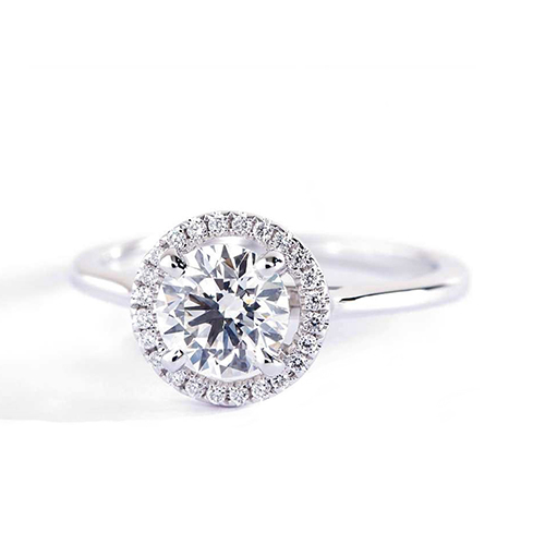 GIA Certified 0.50 Cts SI2 D Round Halo Diamond Engagement Ring 18K White Gold