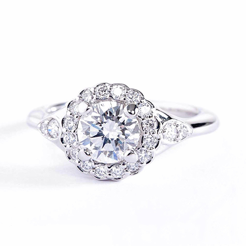 GIA Certified 1 Ct SI2 D Round Vintage Diamond Engagement Ring 18K White Gold