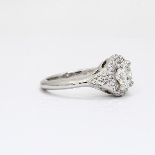 GIA Certified 1.30 Ct SI2 D Round Vintage Diamond Engagement Ring 18K White Gold