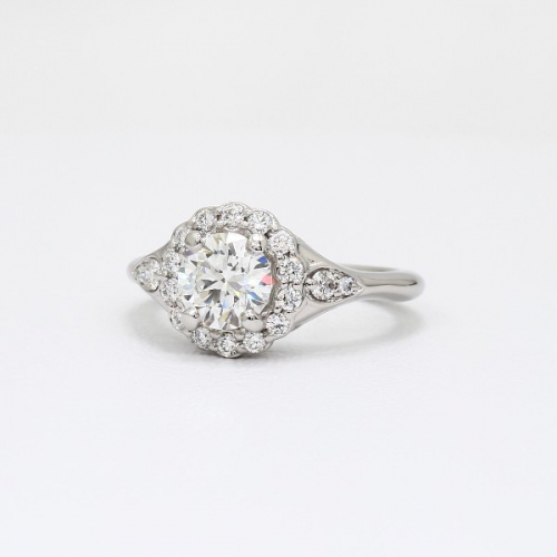 GIA Certified .80 Cts SI2 D Round Halo Diamond Engagement Ring 18K White Gold