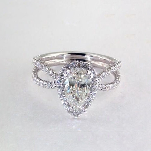 GIA Certified .90Ct SI2 F Pear Split Shank Halo Diamond Engagement Ring Platinum