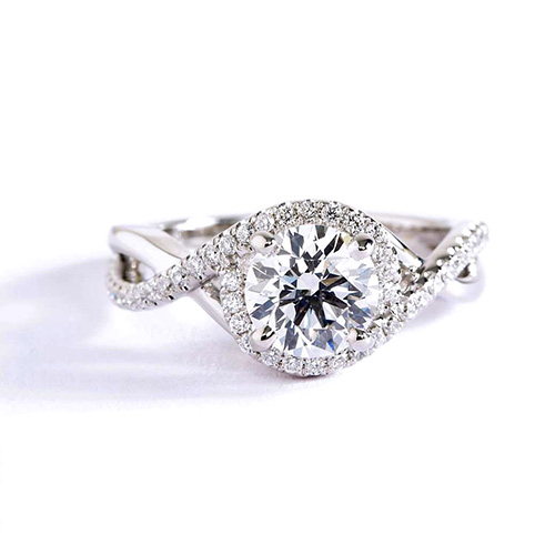 0.70 Cts SI2 D Round Cut Twist Shank Halo Diamond Engagement Ring Platinum