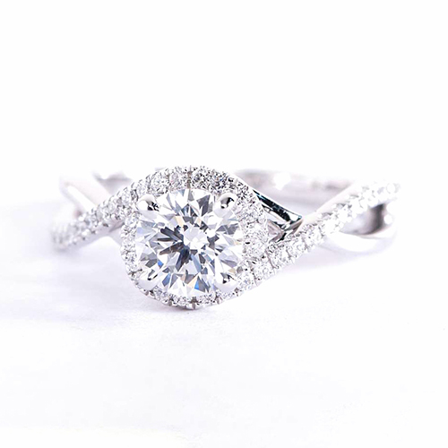 0.90 Cts SI2 F Round Cut Twist Shank Halo Diamond Engagement Ring Platinum
