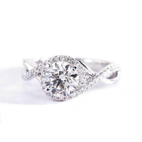 1 Cts SI2 F Round Cut Twist Shank Halo Diamond Engagement Ring Platinum
