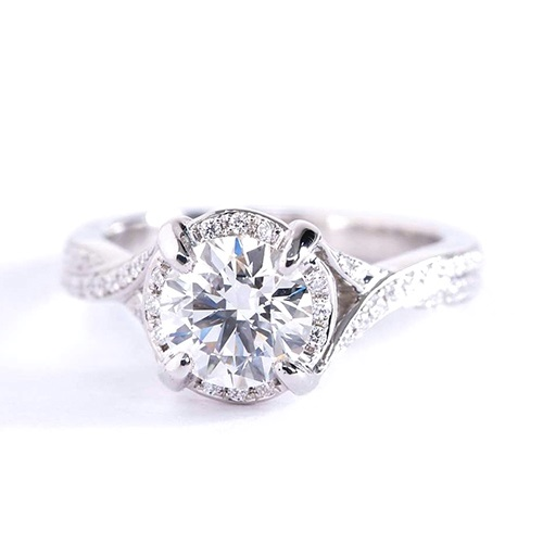 1 Cts SI2 F Round Cut Vintage Halo Diamond Engagement Ring 18K White Gold