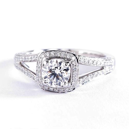 1 Cts SI2 D Round Cut Split Shank Cushion Diamond Engagement Ring Platinum