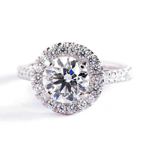 1.50 Cts SI2 F Round Brilliant Cut Wide Halo Diamond Engagement Ring 18K White Gold