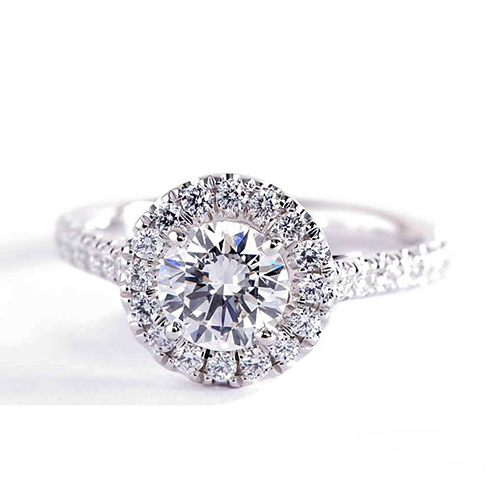 0.50 Cts SI2 D Round Cut Wide Halo Diamond Engagement Ring 18K White Gold
