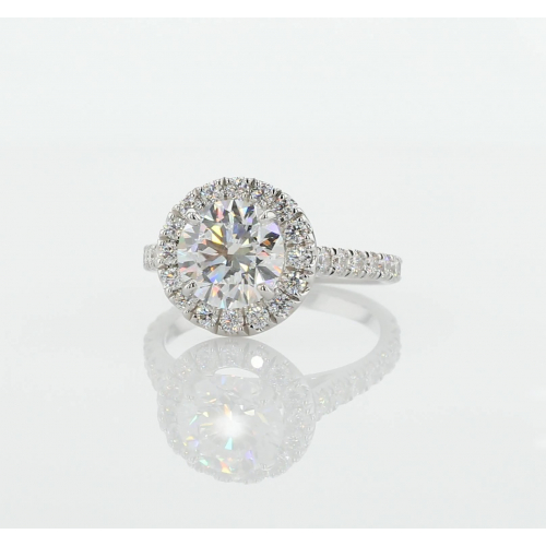 1 Ct SI2 D Round Cut Wide Halo Diamond Engagement Ring 18K White Gold