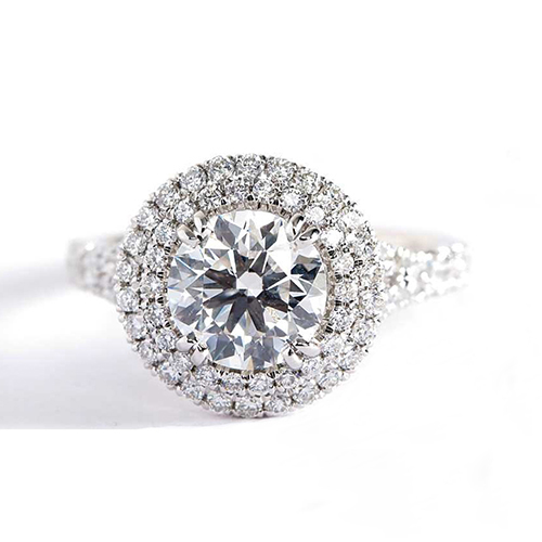 GIA Certified 0.90 Cts SI2 F Round Split Shank Diamond Engagement Ring Platinum