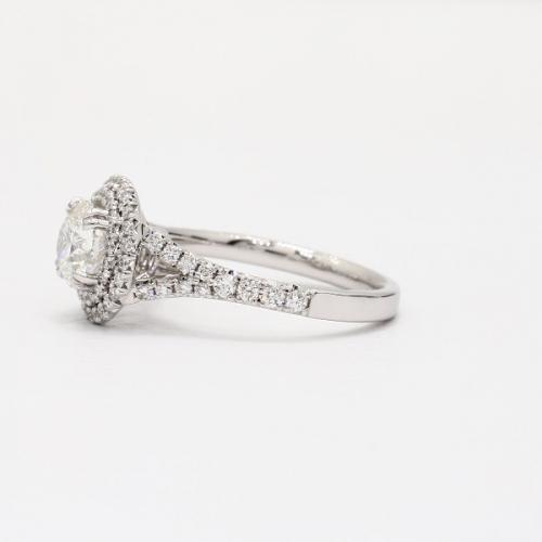 GIA Certified 2.20 Cts SI2 F Round Split Shank Diamond Engagement Ring Platinum