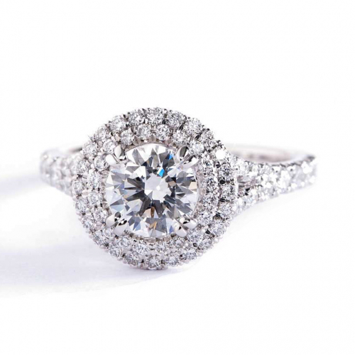 2.30 Cts SI2 D Round Cut Split Shank Double Halo Diamond Engagement Ring Platinum