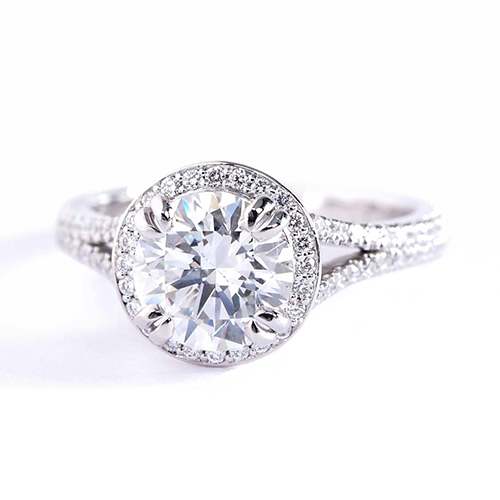 0.50 Cts SI2 F Round Vintage Halo Diamond Engagement Ring 18K White Gold
