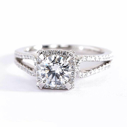 GIA Certified .50 Ct SI2 F Round Halo Diamond Engagement Ring 18K White Gold