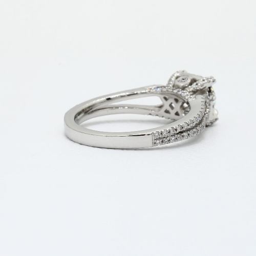 GIA Certified 1.10 Ct SI2 F Round Halo Diamond Engagement Ring 18K White Gold