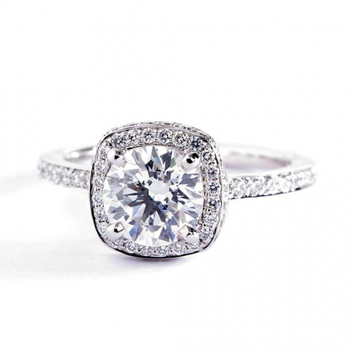 1.60 Cts SI2 F Round Cut Cushion Collar Halo Diamond Engagement Ring Platinum
